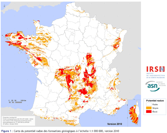 Carte du radon en France - source IRSN